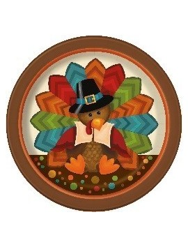 "Platos Thanksgiving cute turkey pequeños 7"" 8ct"