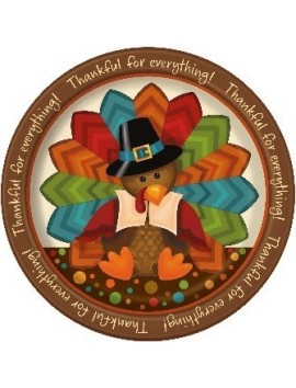 "Platos Thanksgiving cute turkey grandes 9"" 8ct"