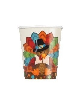 Vasos Thanksgiving cute turkey 9oz 8ct