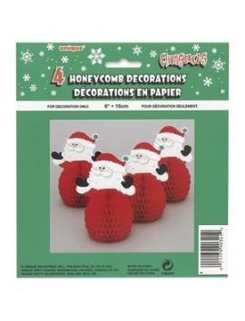 """4 Santa 6"""" Honeycomb dec,"""