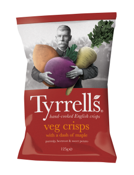 Tyrrells Veg crisps with a dash of Maple 150 gr